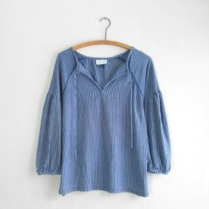 Universal Thread blue striped popover blouse